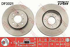 Fits Honda Jazz 1.2 1.3 1.4 Petrol 08-16 Set of Front Brake Discs 262mm Vented