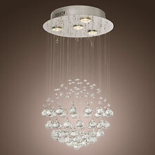 LUXURY Crystal Pendant Lamp Ceiling 4 Light Spiral Lighting Rain Drop Chandelier