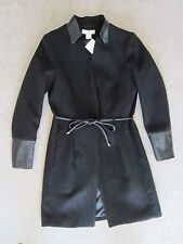 H&M BLACK FAUX LEATHER SLEEVE COLLAR LONG JACKET OUTERWEAR SIZE 4 US/ 34 EUR