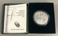 2014 Silver 1oz American Eagle $1 Silver US Burnished Coin with Box & Cert