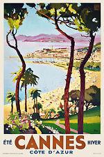 Vintage Art Deco FrenchTravel Poster Cannes Cote D'Azur 30s Retro Beach Riviera