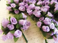 "144 Poly Silk Rose Flower 4"" Stem/leaf/trim/Wedding Bouquet/Purple H415-Lavender"