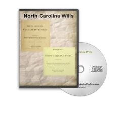 North Carolina Wills From The 1700s Historic Book Collection on CD - D455