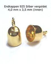 2x Endkappe Ø 3,5 mm innen 925 Silber vergoldet Endhülsen Schmuckzubehör