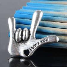 Kf320*7Pc Tibetan Silver I LOVE YOU Deaf Sign Language Pendant Charms Findings