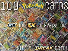 Pokemon TCG 100 Cards GX, EX or Mega EX + BREAK Holos Ultra Rare Pokemon Cards