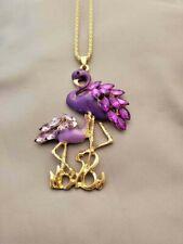 Purple Rhinestone & Enamel Flamingo Necklace *100% Donation 2 cure K9 Cancer