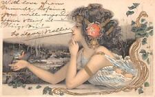 BEAUTIFUL WOMAN BIRD UNSIGNED KIRCHNER ART NOUVEAU TUCK POSTCARD 1902
