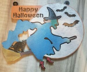 Handmade Wooden Painted Happy Halloween Sign with Witch on Broom Black Cat Moon