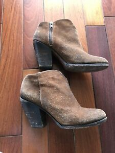 Freebird Women Sz 8 Ankle Boots Booties Rust Suede Leather Brown