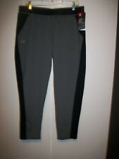 NWT UNDER ARMOUR GRAY & BLACK LOOSE FIT SLIM LEG LEISURE TROUSERS SZ LARGE $99.