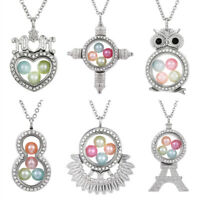 MOM Heart Living Memory Floating Locket Pendant Pearl Cage Glass Locket Necklace