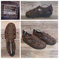 Skechers Shape Ups Sandals Womens Sz 10 M Fisherman Brown Leather Toning Walking