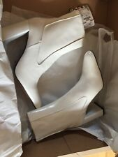 Zara White Real Leather High Heel Ankle Boots, Size 6-BNWT