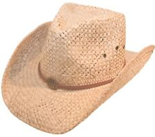 Mens or Womens Straw Cowboy Hat Wide Brimmed Stetson Sun Cap Fedora Trilby Hat