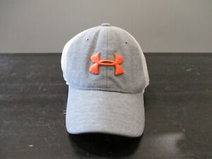 Under Armour Hat Cap Fitted Youth Medium Gray Orange Athletic Boys Kids