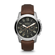 FOSSIL FS4813 Grant Chronograph Stainless Steel Brown Leather 45mm Men's Watch