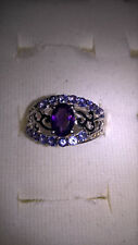 African Amethyst with Tanzanite (AA) & White Topaz / Rhodium Plated Ring
