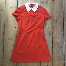 Vintage 60s 70s mini dress collar mod dolly orange 1960s retro gogo 10 12 M