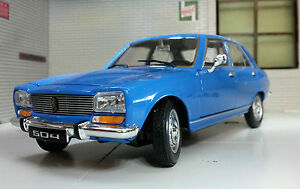 G LGB 1:24 Scale 1975 Peugeot 504 Saloon Blue Detailed Welly Diecast Model Car