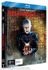 HELLRAISER 1 2 3 HORROR FILMS TRILOGY BLU RAY STEELBOOK COLLECTION NEW REGION B