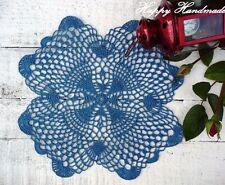 HaHa Royal Blue Linen Crochet 29cm (11 inch) Doily Coaster / wedding/christening