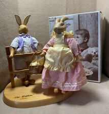 The Hopkins Easter Rabbits~1991 by Robert Raikes Wood & Fur W/Box~COA