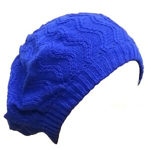 Slouch Beret Hat Cap Beanie Blue Knit Knitted Winter Warm Ski Ribbed