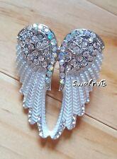 SILVER Angel Wings Adjustable RING Rhinestone Crystal Gem Statement Jewellery