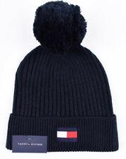 TOMMY HILFIGER Rib Knit Bobble Hat, Navy Blue, One Size - Adult