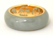 Vintage Chinese 14K Solid Gold and Untreated Jade Ring Size 4 3/4