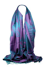 Quality Peacock Feather and Paisley Print Pashmina Feel Scarf Wrap Shawl