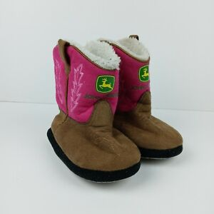 John Deere Cowboy Boots Slippers Brown Pink Girls Kids Toddler Size Medium 7 / 8