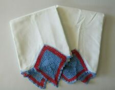 "Vintage Crocheted Diamond Trim Pair of Pillowcases Red & Blue 20"" x 30"""