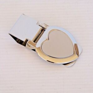 2-TONE LOVE HEART SHAPED MONEY CLIP CASH BUSINESS CARD HOLDER GIFT