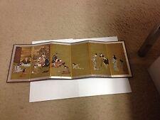 Japanese MINI Folding Screen, Hikone Byobu W/Original Wooden Box