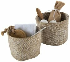 Compactor Mika Round Woven Storage Basket Set of 2 Beige
