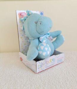 NEW CHAD VALLEY Snuggle Blue Knitted Dinosaur Baby Soft Pram Cot Toy 0+ Newborn