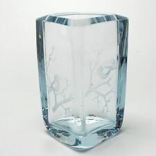 VINTAGE STROMBERGSHYTTAN GLASS VASE W/ ETCHED BIRD DESIGN