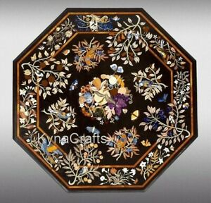 48 Inches Marble Patio Table Pietra Dura Art Dining Table Top for Home Decor