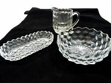 3 Clear Glass Candy, Creamer and Butter Dish Triangle Design