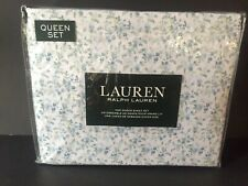 Ralph Lauren Blue Floral Calico Queen Sheet Set 4pc Cottage 100% Cotton