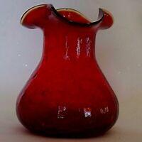 Vintage Ruby Red Crackle Art Glass Vase Amberina Rim With Pontil Mark Z725