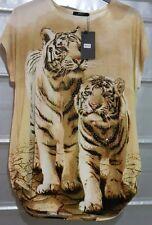 Women's Tiger Sequin Print Plus Size Ladies Cap Sleeves Baggy T-Shirt Top 14-20