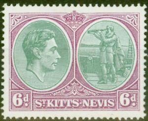 St Kitts  & Nevis 1950 6d Green & Purple SG74dvar Break in Oval Frames Lines ...