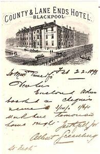 Orig 1895 illus letterhead County & Lane Ends Hotel Blackpool handwritten letter