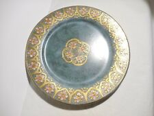 "Toyo Macau ""Marbella"" Plate Dish 10"" Green with Pink Flowers and Gold"