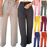 Women Office Loose Casual Stretch High Waist Wide Leg Long Pants Palazzo Trouser