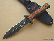 MTECH FIXED BLADE BOOT KNIFE 9.5 INCH OVERALL DOUBLE EDGE BELT CLIP NYLON SHEATH