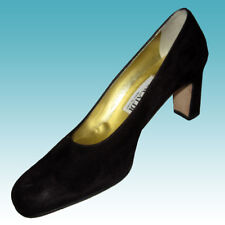 New $235 PANCALDI -MADE IN ITALY Dark Brown Classic Heels 7AA Shoes SUEDE Pumps
